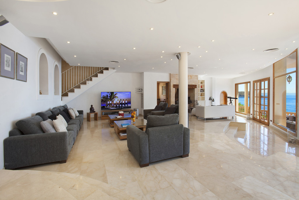 Great Living Room With 80 Inch Tv Living And Dining Room Mallorca Rental Villa  Juan Carlos